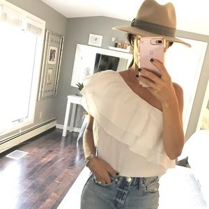 Chelsea white one shoulder shirt size small